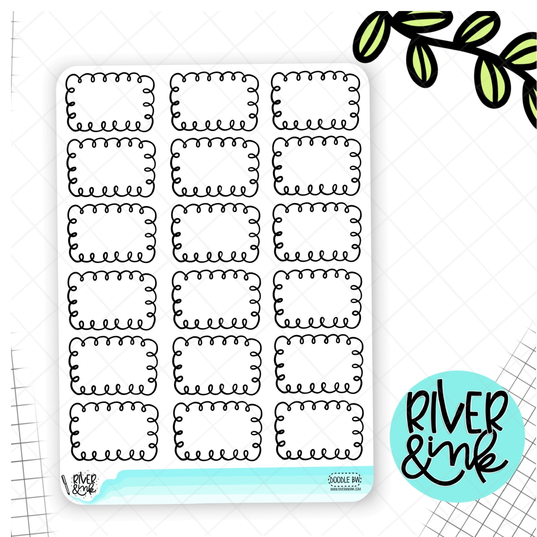 Black & White Doodle Half Boxes | Hand Drawn Planner Stickers