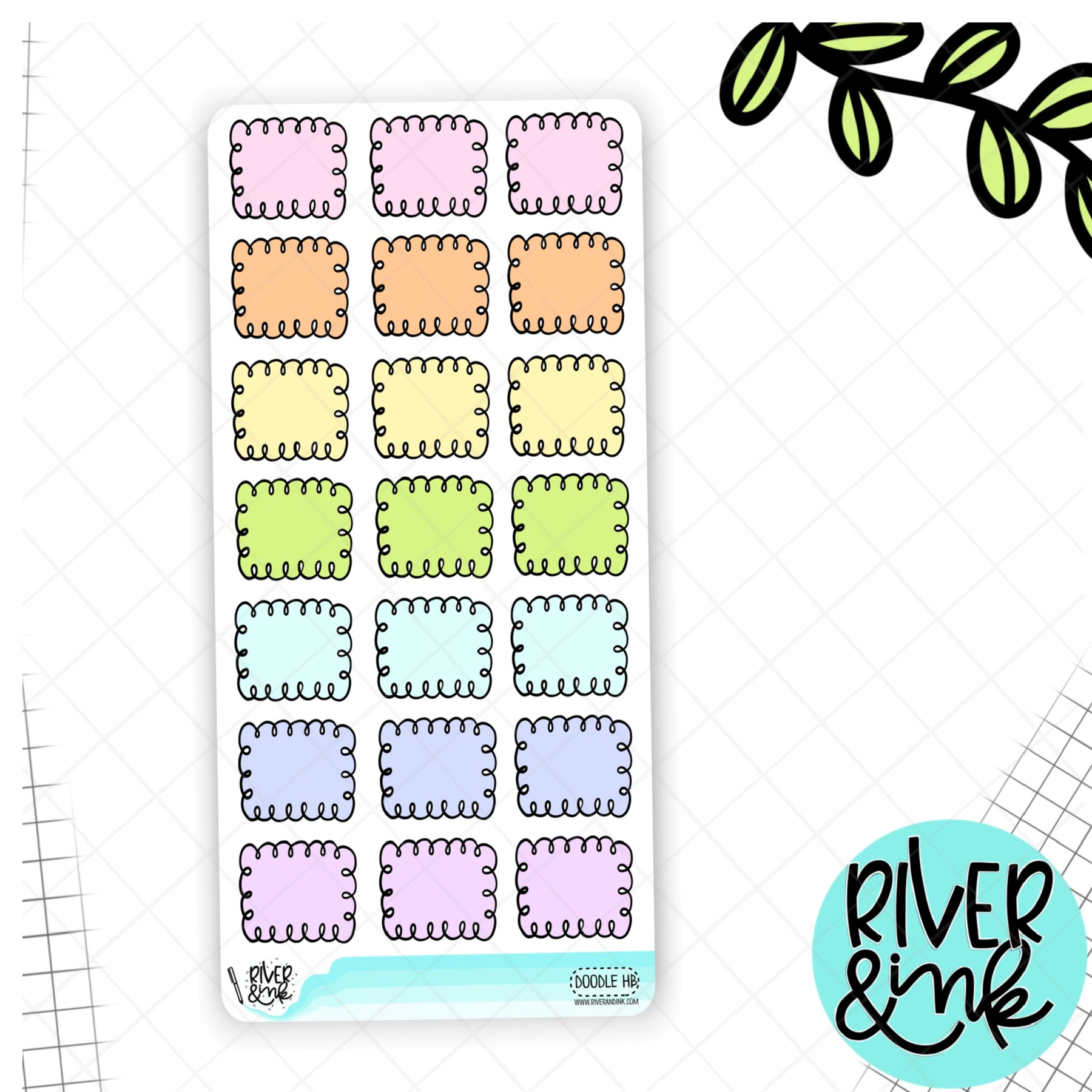 Pastel Doodle Hobonichi Weeks Full Box | Hand Drawn Planner Stickers