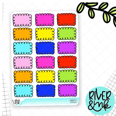 Rainbow Doodle Half Box | Hand Drawn Planner Stickers