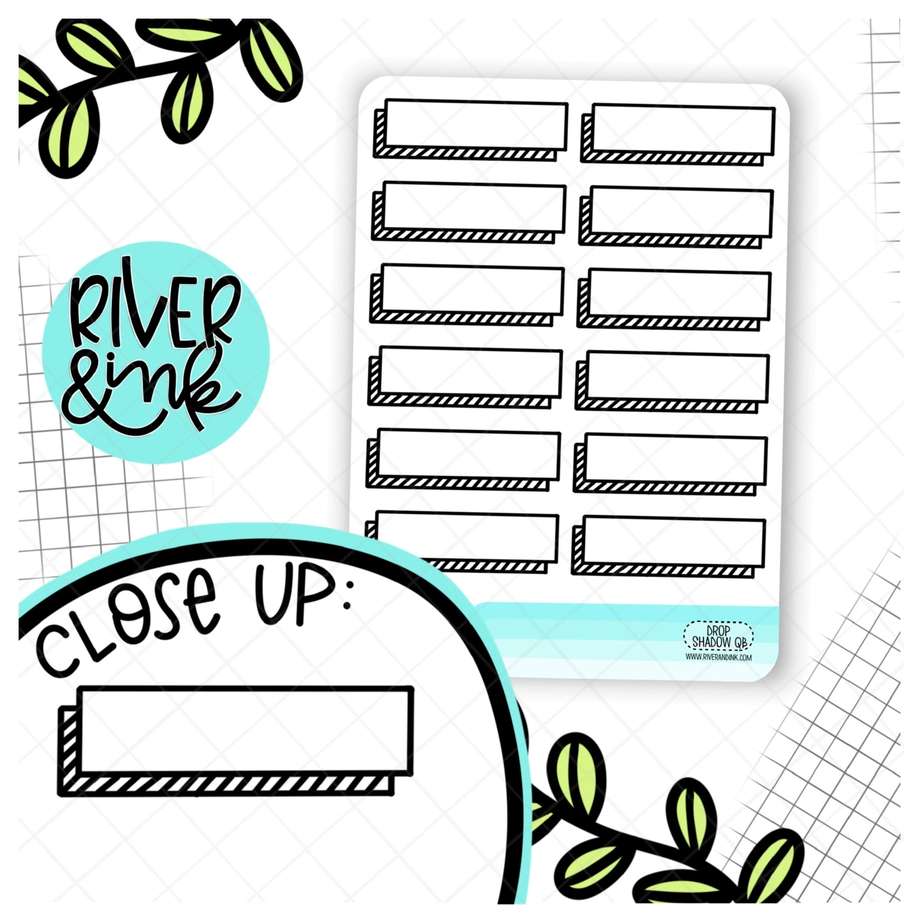 Drop Shadow Quarter Boxes | Hand Drawn Planner Stickers