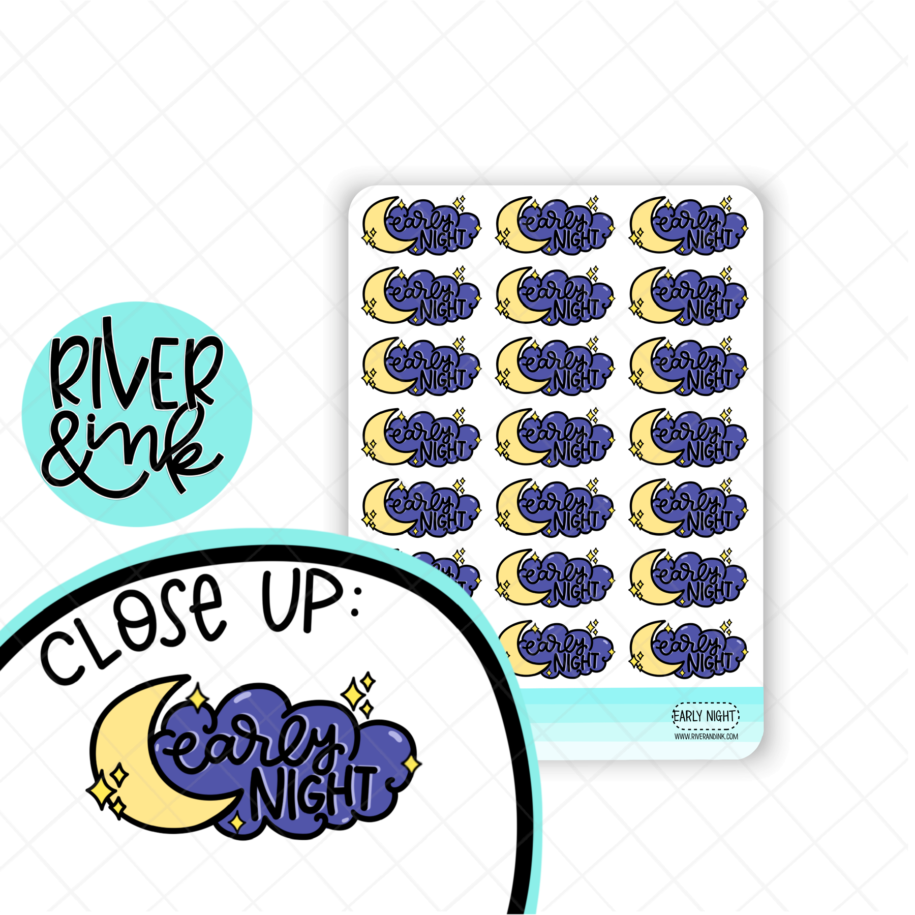 Early Night Moon | Hand Lettered Planner Stickers