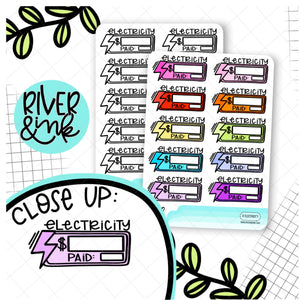 Electricity Bill Budgeting Quarter Boxes | Hand Drawn Planner Stickers