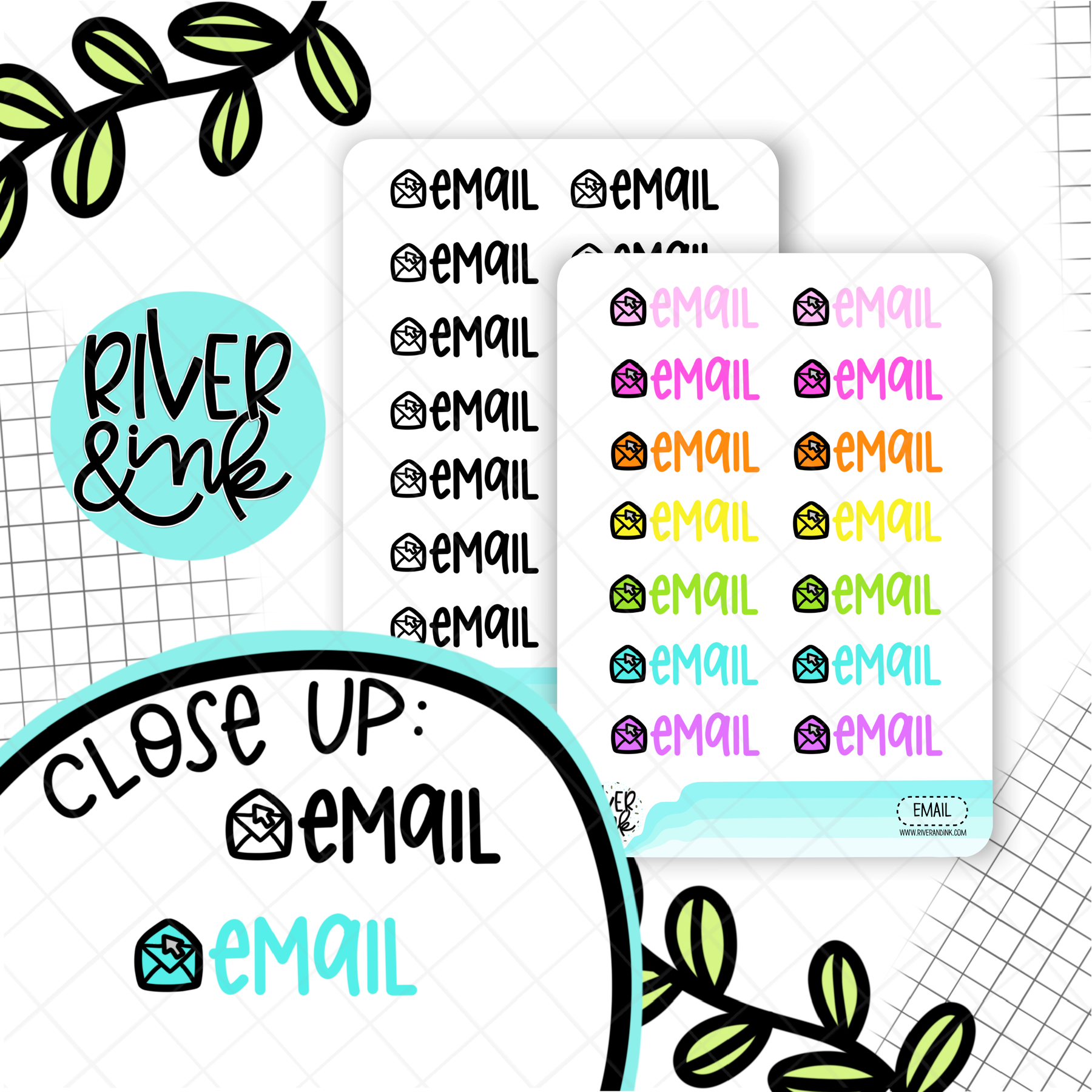 Email | Hand Lettered Planner Stickers
