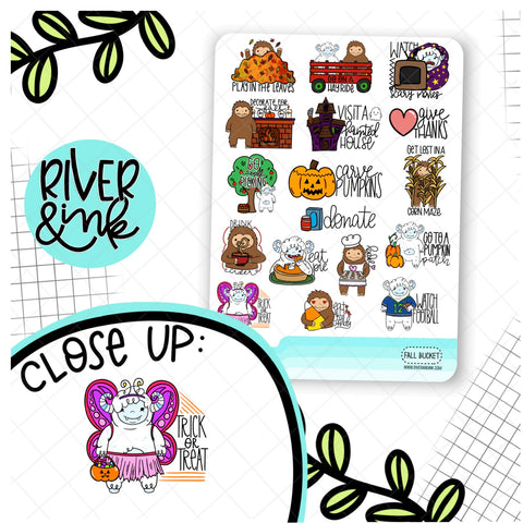 Fall Bucket List Biggie Sass and Ygritte Planner Characters | Hand Drawn Planner Stickers