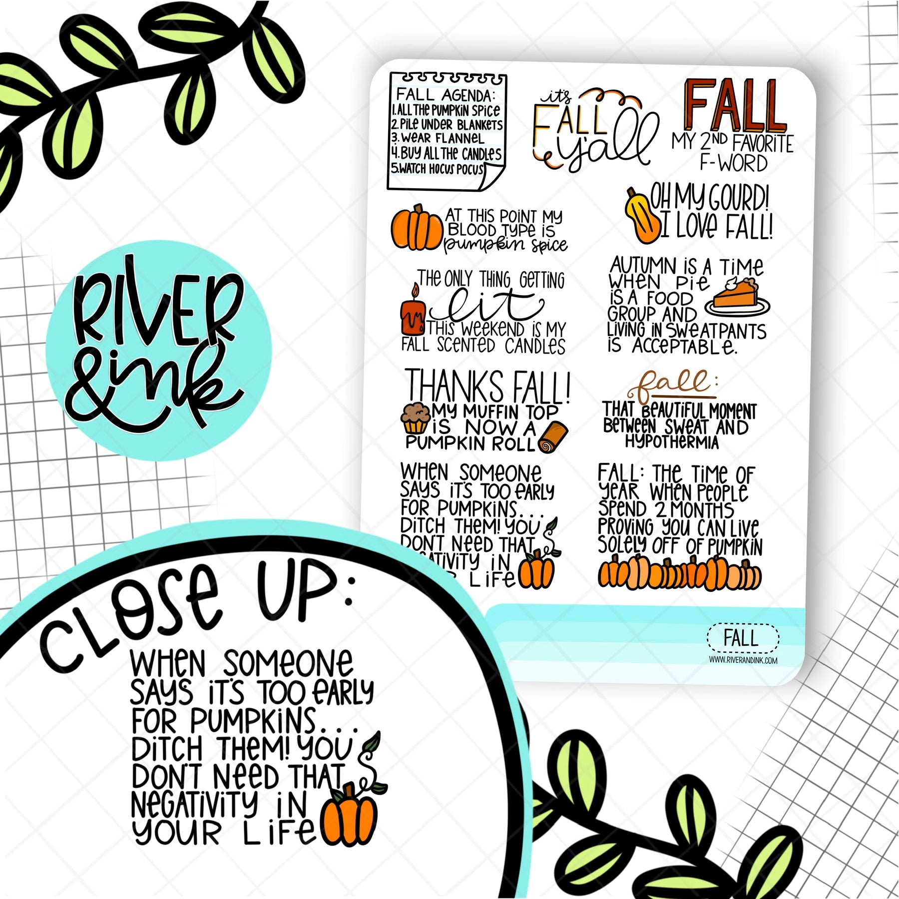 Fall Quotes | Hand Lettered Planner Stickers