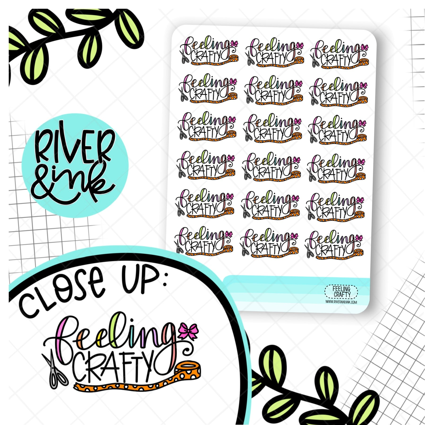 Feeling Crafty | Hand Lettered Planner Stickers