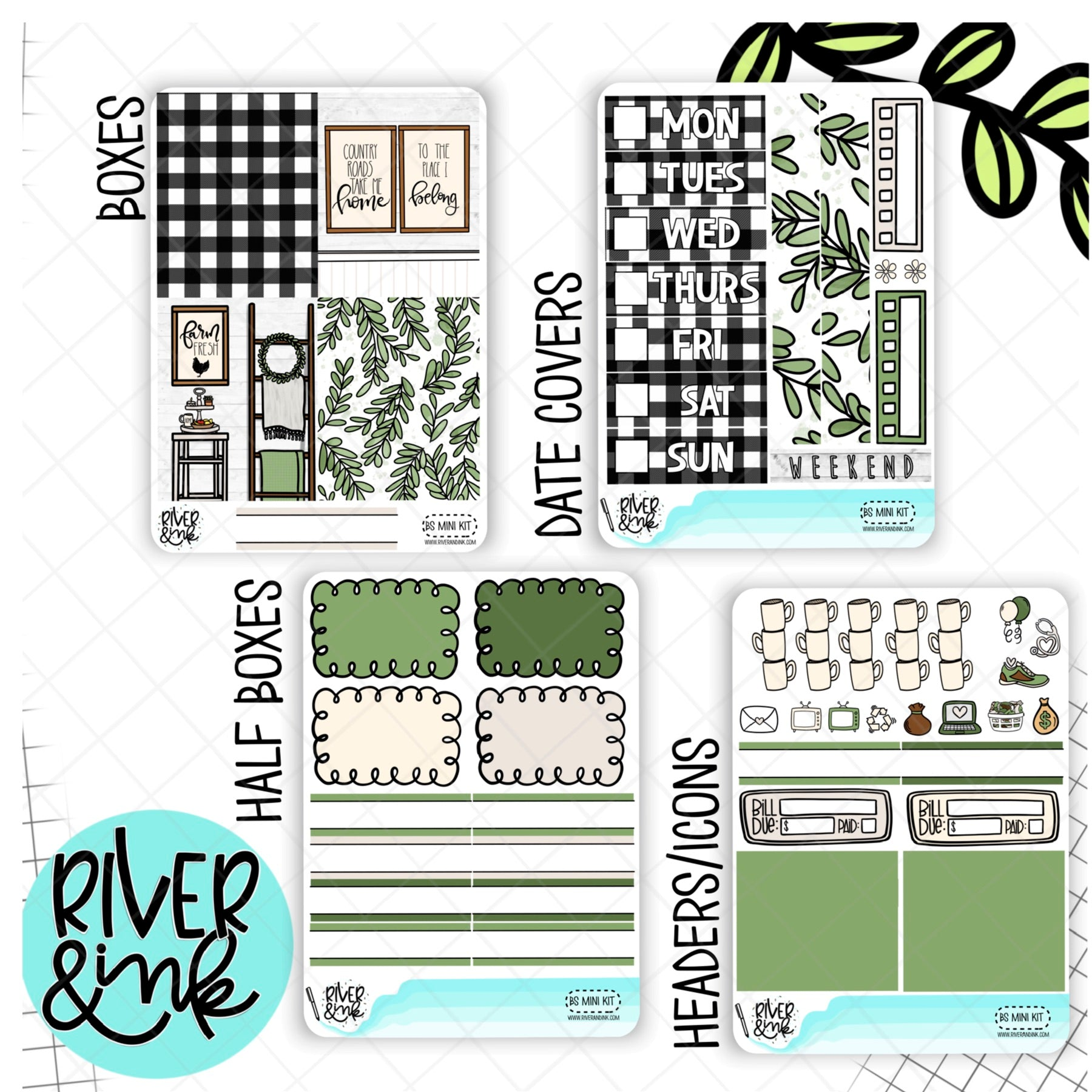Farm House Home | Mini Weekly Planner Stickers Kit