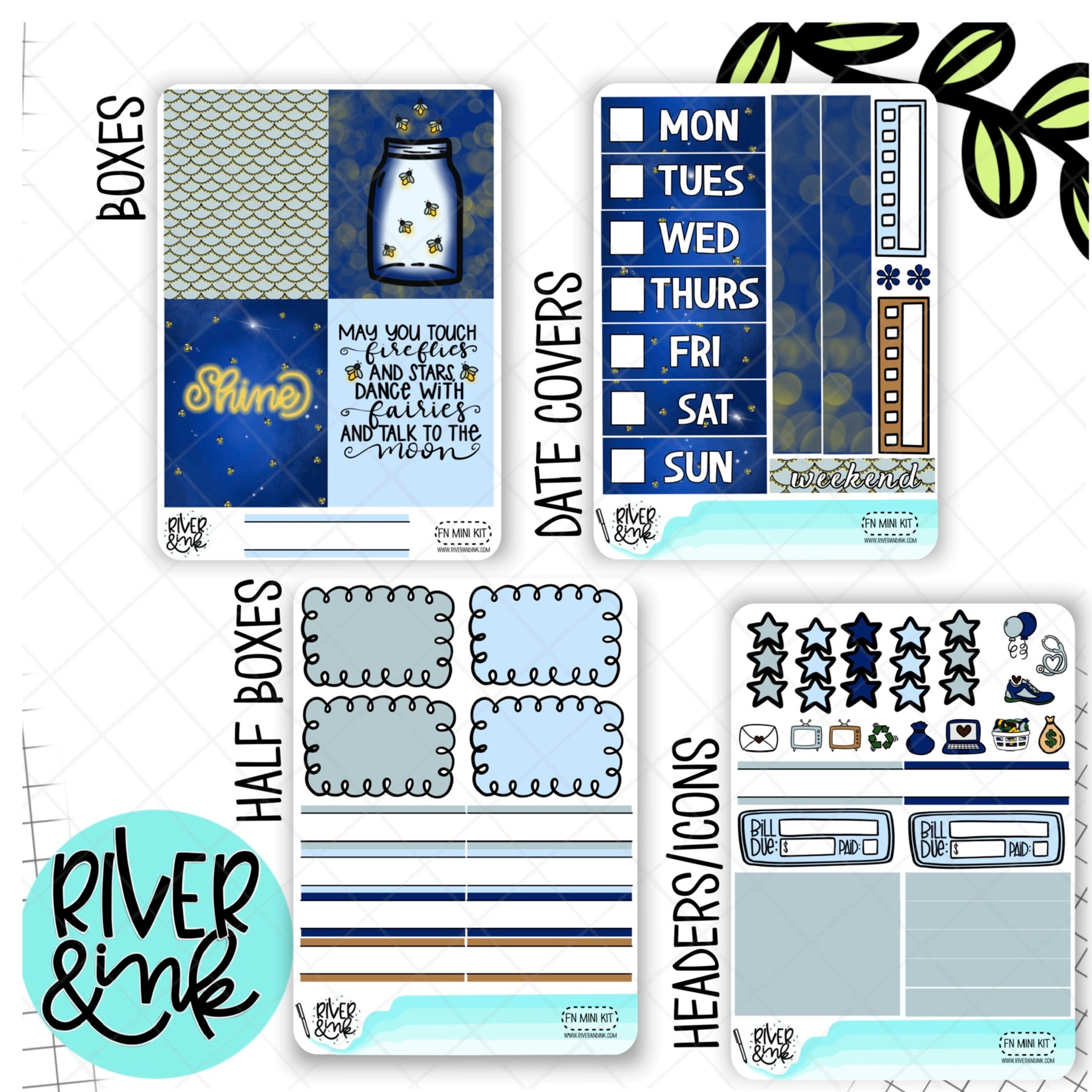 Firefly Nights | Mini Weekly Planner Stickers Kit