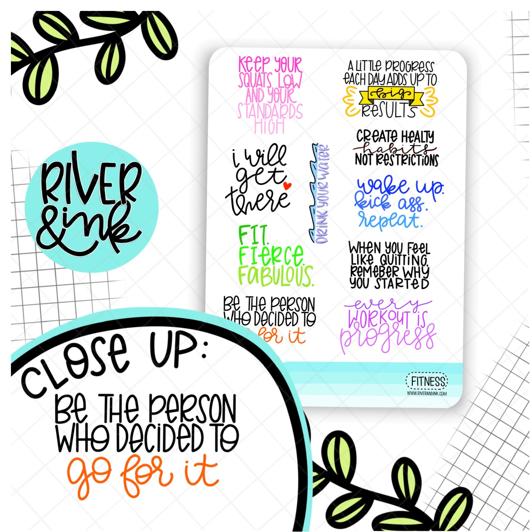 Fitness Quotes | Hand Lettered Planner Stickers