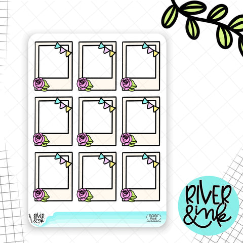 Floral Banner Polaroid Full Boxes | Hand Drawn Planner Stickers