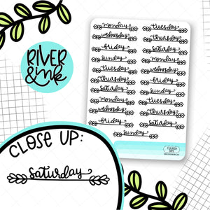 Flourish Days Date Covers | Hand Lettered Planner Stickers