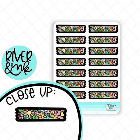 Flower Power Washi Strip | Hand Drawn Planner Stickers