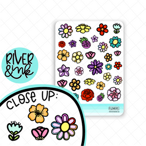 Flower Art Doodles | Hand Drawn Planner Stickers