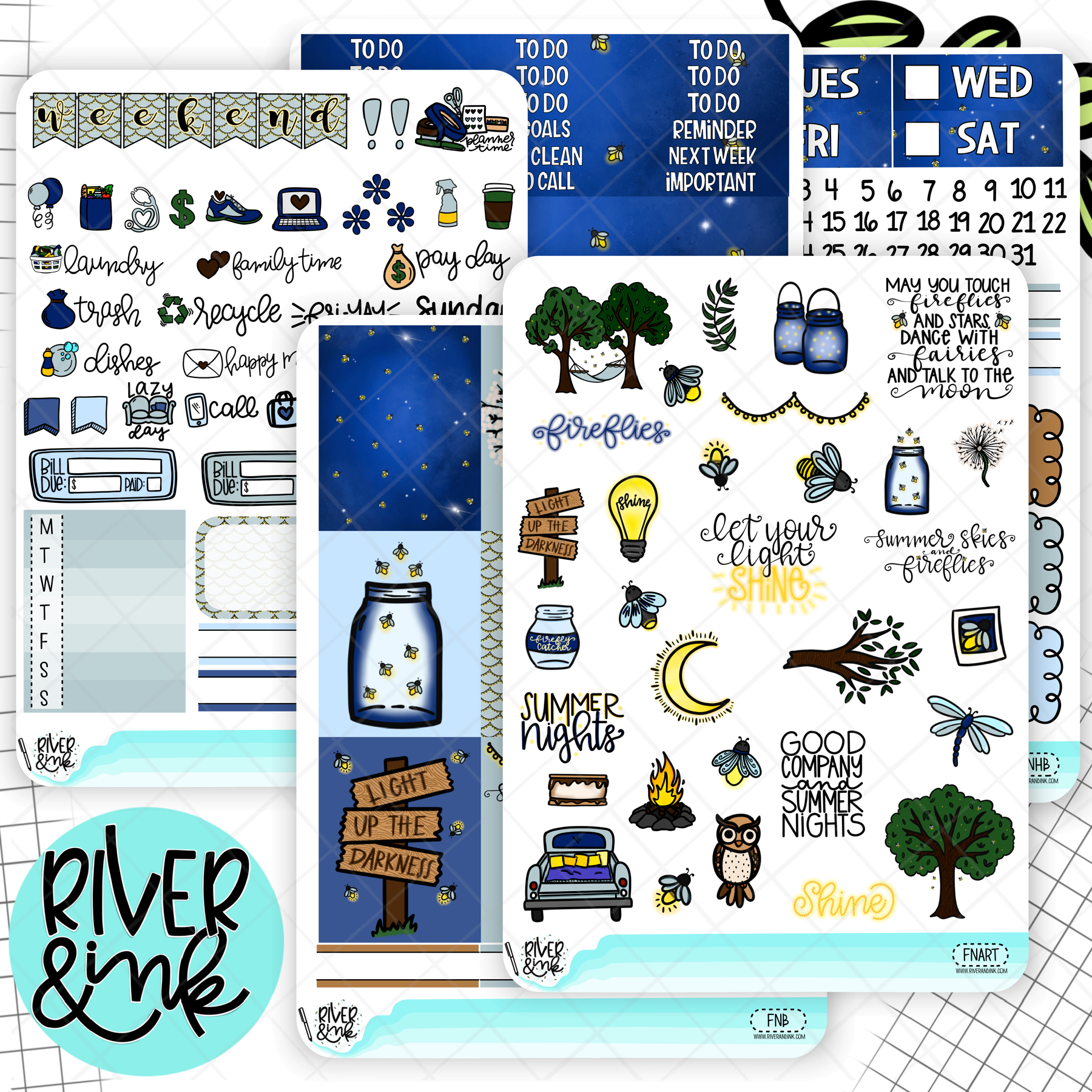 Firefly Nights | Weekly Vertical Kit Planner Stickers