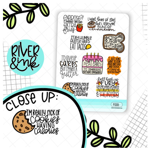 Food Quotes | Hand Lettered Planner Stickers