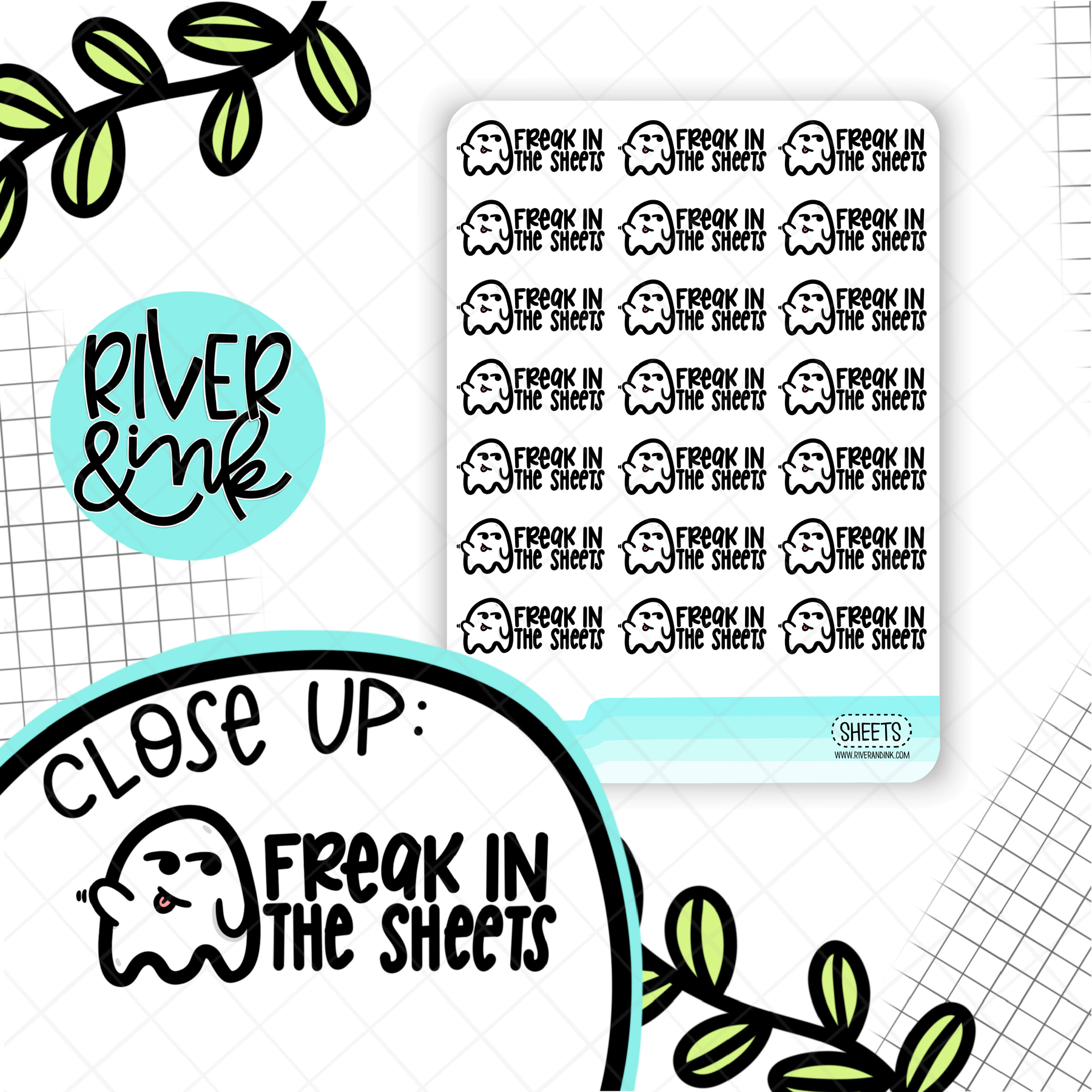 Freak In the Sheets Ghost Pun | Hand Drawn Planner Stickers