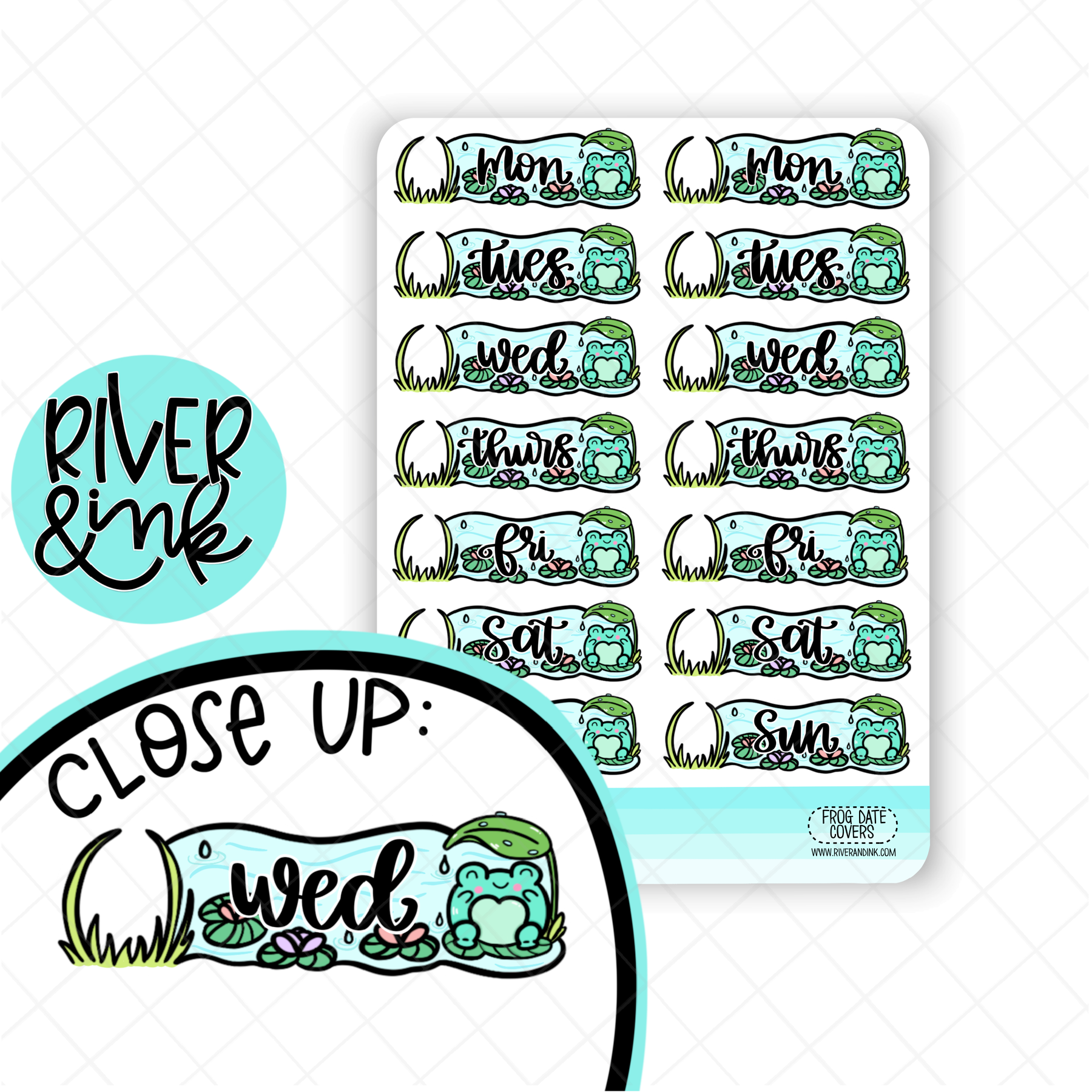 Frog Pond Date Covers | Hand Drawn Planner Stickers