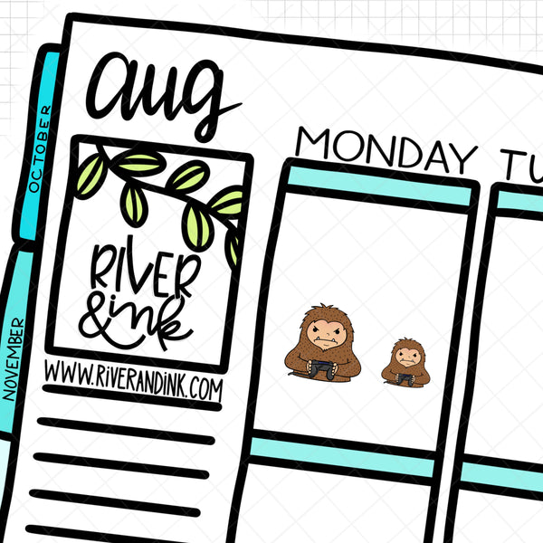 Gamer Biggie Sass Planner Character | Hand Drawn Planner Stickers