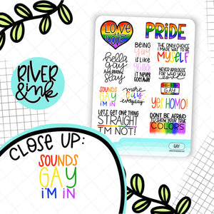 Gay Pride Quotes | Hand Lettered Planner Stickers