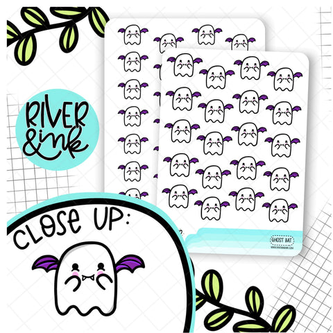 Ghost Bat Halloween | Hand Drawn Planner Stickers
