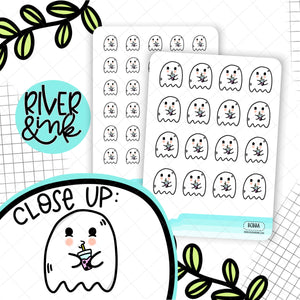 Ghost Drinking Boba Tea | Hand Drawn Planner Stickers