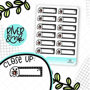 Ghost Movie Night Quarter Boxes | Hand Drawn Planner Stickers