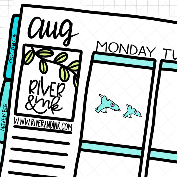 Hot Glue Gun | Hand Drawn Planner Stickers