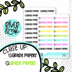 Grade Papers | Hand Lettered Planner Stickers