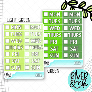 Green Color Block Date Covers | Planner Stickers
