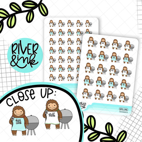 Grilling Biggie Sass Planner Character | Hand Drawn Planner Stickers