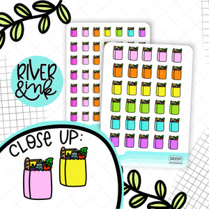 Rainbow Grocery Bag Icons | Planner Stickers