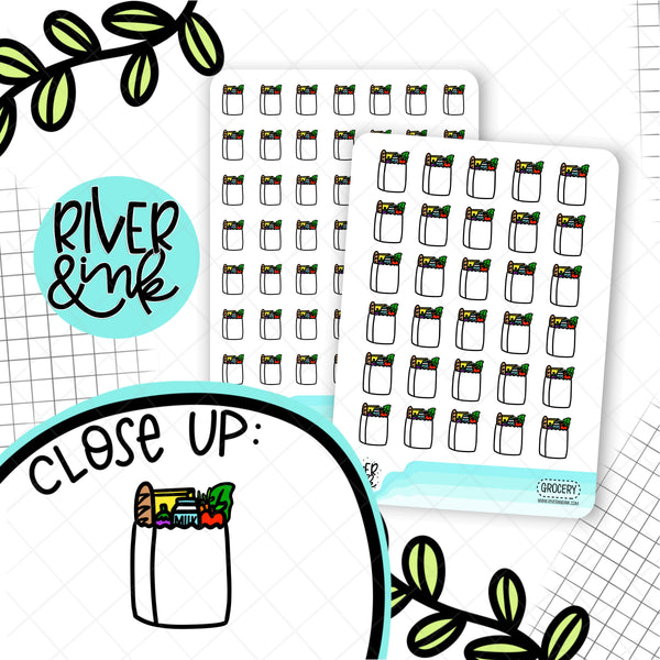 Black & White Grocery Bag Icons | Hand Drawn Planner Stickers