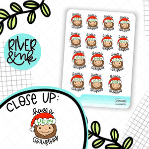 Have A Hairy Christmas Biggie Sass Planner Character | Hand Drawn Planner Stickers