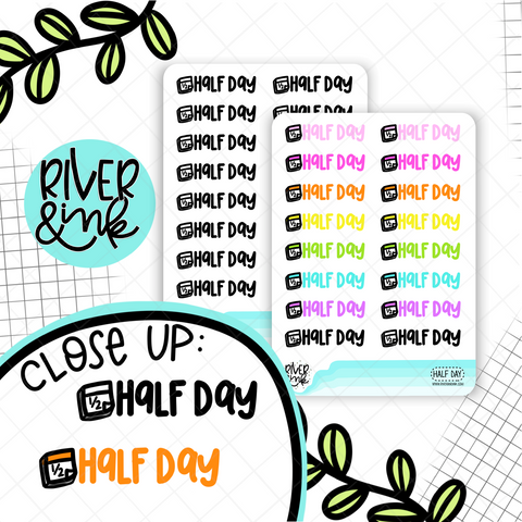 Half Day | Hand Lettered Planner Stickers