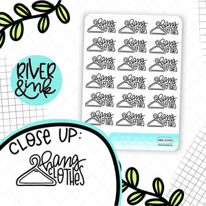 Hang Clothes | Hand Lettered Planner Sticker