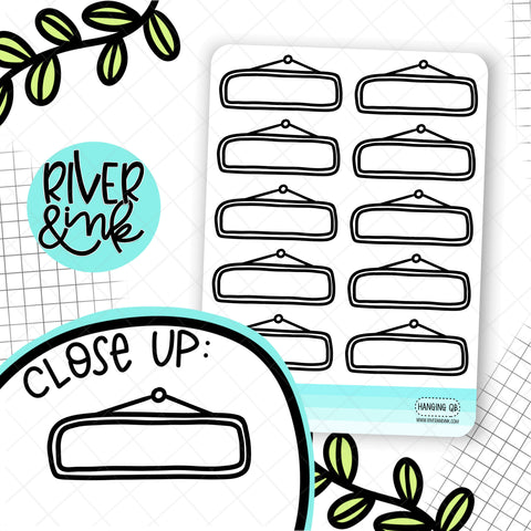 Hanging Quarter Boxes | Hand Drawn Planner Stickers