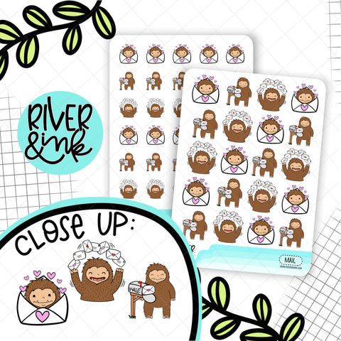 Happy Mail Biggie Sass Planner Characters|  Hand Drawn Planner Stickers