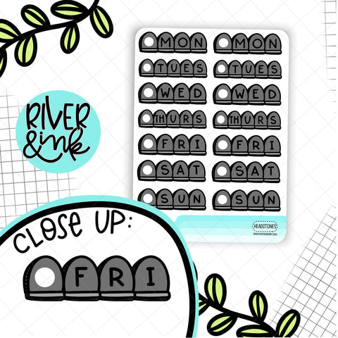 Headstone Date Covers | Hand Drawn Planner Stickers