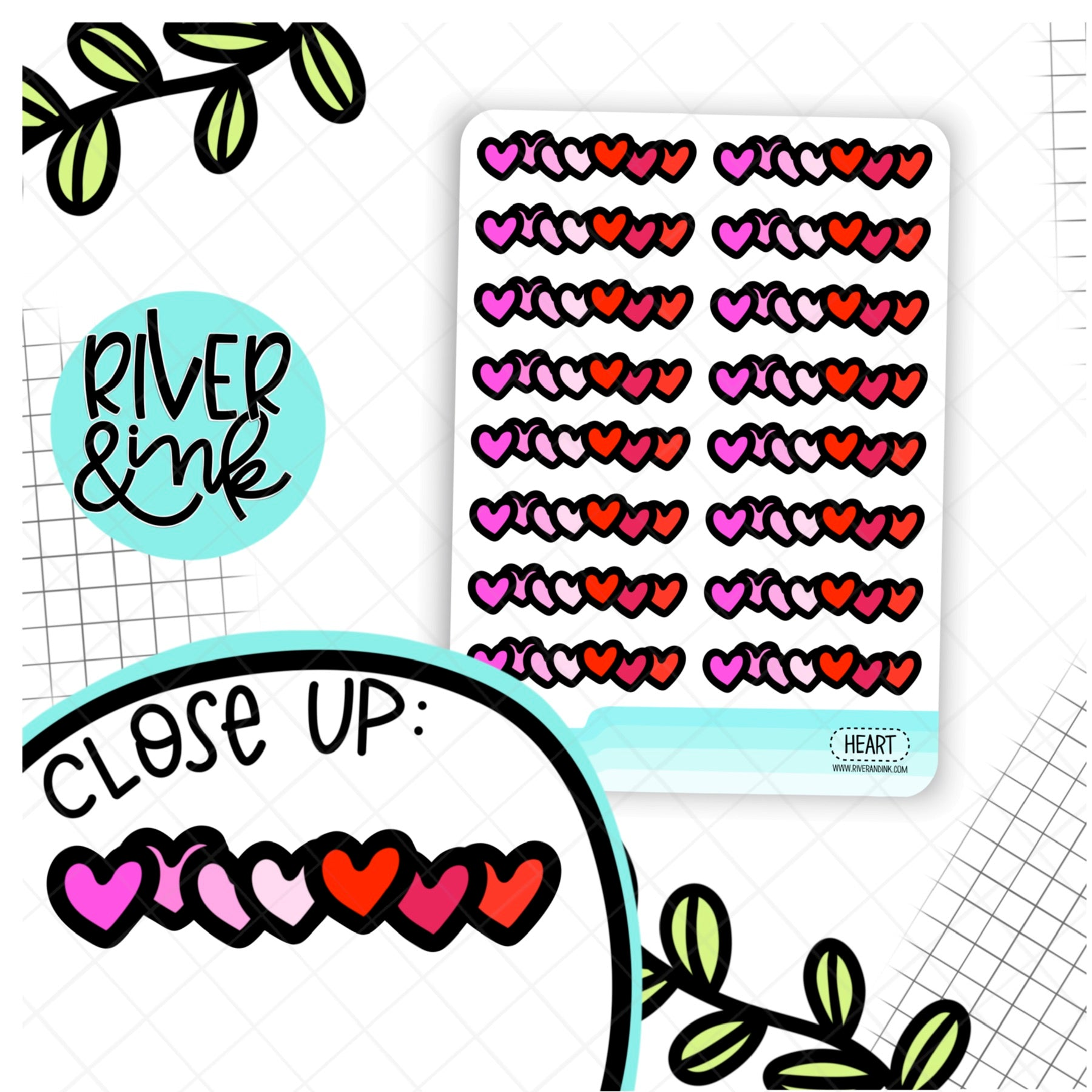 Heart Divider | Hand Drawn Planner Stickers