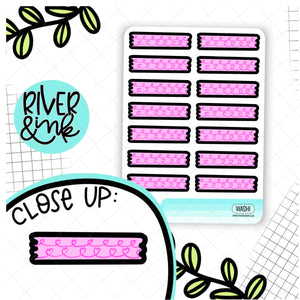 Pink Heart Washi Strips | Hand Drawn Planner Stickers