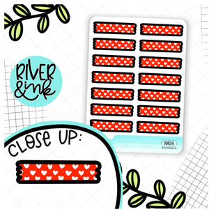 Red Heart Washi Strips | Hand Drawn Planner Stickers