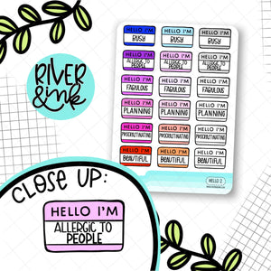 Hello I'm...Mood 2 | Hand Lettered Planner Stickers