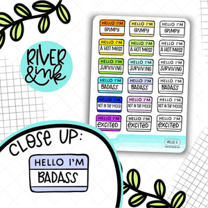 Hello I'm Mood 3 | Hand Lettered Planner Stickers