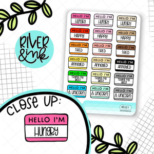 Hello I'm...Mood 1 | Hand Lettered Planner Stickers