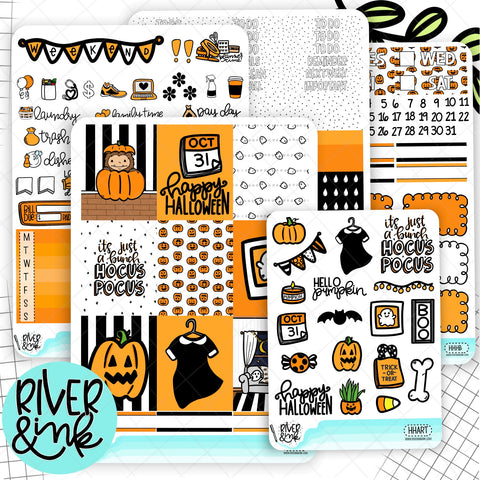Happy Haunting Halloween | Weekly Vertical Planner Stickers Kit