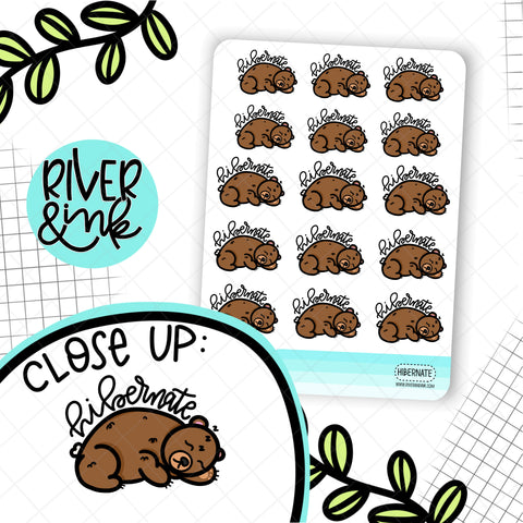 Hibernate Bear | Hand Drawn Planner Stickers