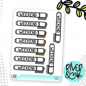 Highlighter Weekend Banners | Hand Lettered Planner Stickers