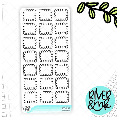 Black and White Doodle Boxes Hobonichi Weeks | Hand Drawn Planner Stickers
