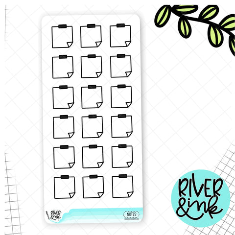 Black & White Notes Boxes Hobonichi Weeks | Hand Drawn Planner Stickers