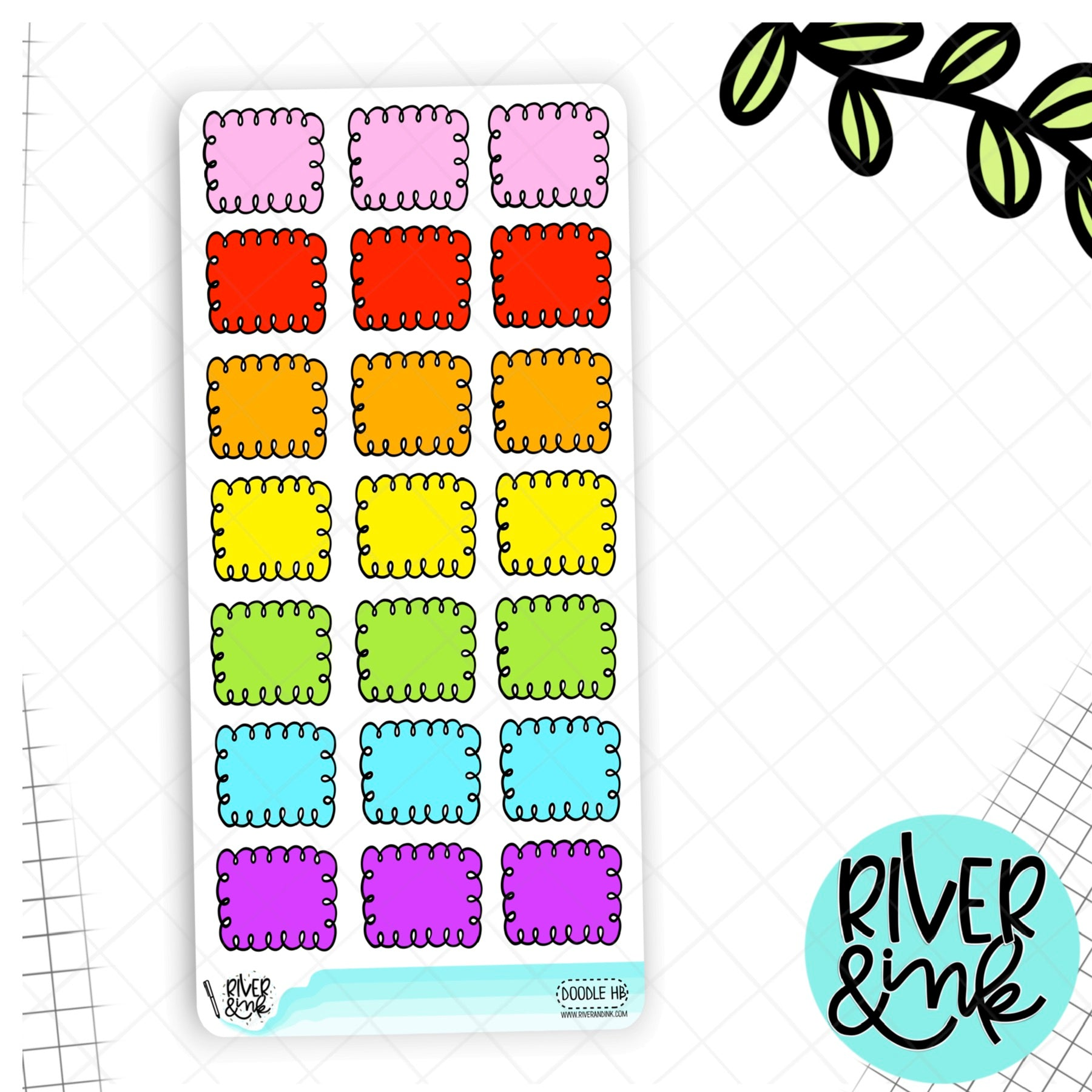 Rainbow Doodle Box Hobonichi Weeks | Hand Drawn Planner Stickers